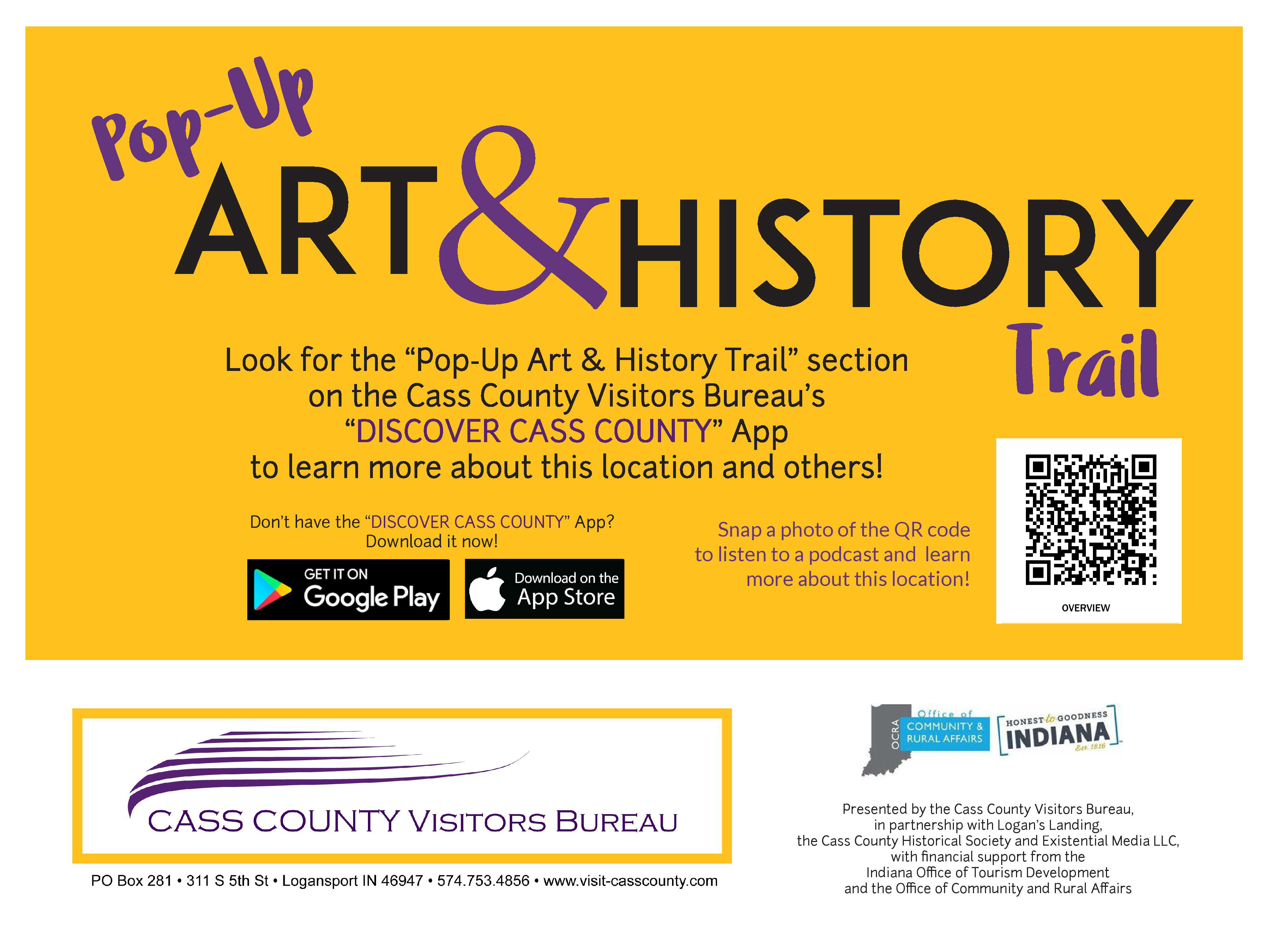 Pop Up Art & History Trail sign